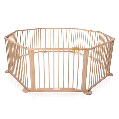 Baby Vivo Laufgitter Laufstall Baby Absperrgitter Krabbelgitter Schutzgitter für Kinder aus Holz mit Tür - 8 Elemente WOODY