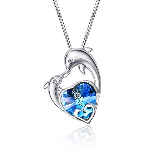 WINNICACA Dolphin Necklace Dolphin Gifts Graduation Gifts Sterling Silver Blue Heart of Ocean Heart Crystal Jewelry Gifts for Women