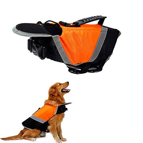 Tineer Chaleco Salvavidas de Dog Life con Relleno Extra de Seguridad Protector de Traje de baño Reflectante para Perros pequeños, medianos, Grandes Seguridad en la Piscina, en la Playa (M, Naranja)