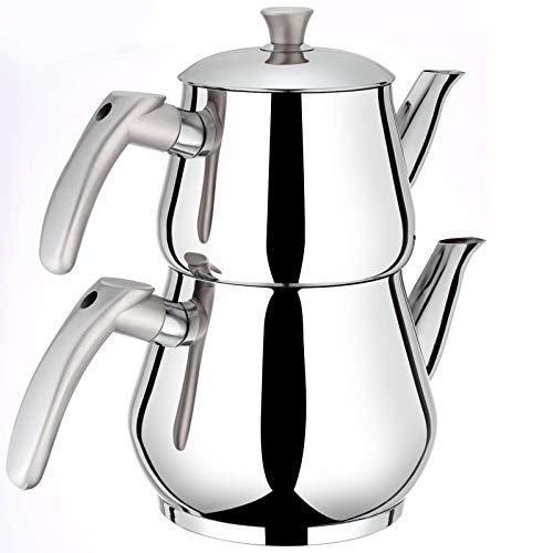 Ertex Türkischer Teekocher |Tee- und Wasserkocher Demlik Caydanlik Semaver Samovar PIRAMIT Mini (Silber)