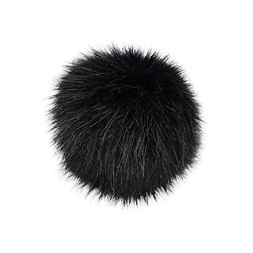 iYmitz DIY Pompon Kunstfell Faux Kunstpelz Ball Kunstfellbommel Bommelmütze Schlüsselanhänger mit Anstecknadel Pelzbommel Fellbommel für Stricken Hüte Zubehör (E,10cm)