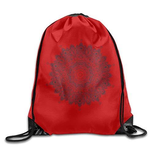ZHIZIQIU Casual Drawstring Backpack Bag Men Women - Sports Gym Sack Sackpack Yoga Dance Travel Daypack - (Vintage Mandala Circle - Red) -