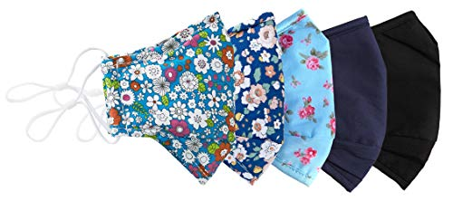 Floral protective cover reusable with Filter Insert Pocket, Adjustable Ear Loops, Nose Wire, 3-layer cotton cloth fabric, Washable, breathable, for teens girls and women, 5-pack