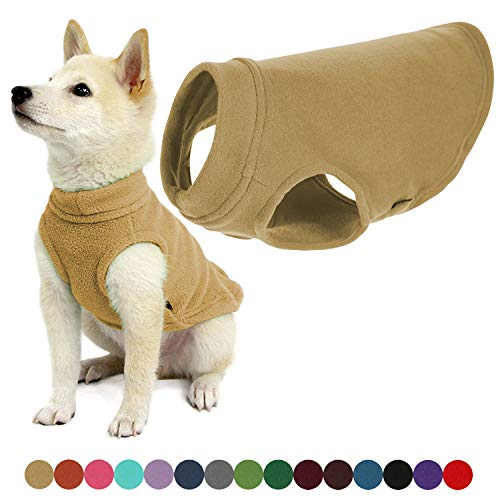 Gooby - Stretch Fleece Vest, Pullover Fleece Vest Jacket Sweater for Dogs, Sand, Small