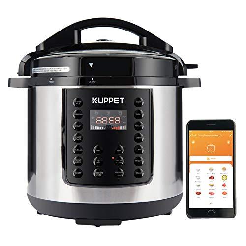 KUPPET Electric Pressure cooker MultiPot, 6 Qt Multi use Programmable Multi Cooker, Rice Cooker, Slow Cooker, Steamer, Saute, Yogurt Maker, Warmer, 1000W, Stainless Steel