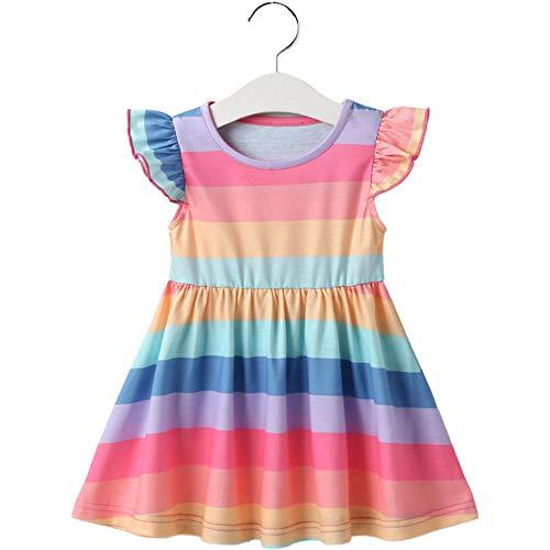 Vestido arcoiris para niñas Vestido de princesa de verano Vestidos coloridos de una pieza