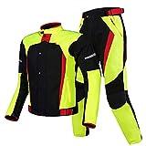 HGFHG Trajes De Moto Chaqueta Ciclista Ciclista Traje De 2 Piezas Ropa De Montar Reflectante para Motocicleta con 11 Equipos De Protección para Hombres, Niños, Mujeres (Color : Verde, Size : L)