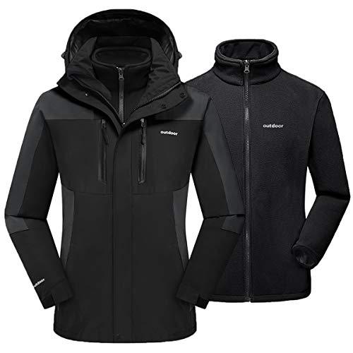 TACVASEN Women's 3-in-1 Ski Jacket Waterproof Snowboard Fleece Inner with Detachable Hood Black, L