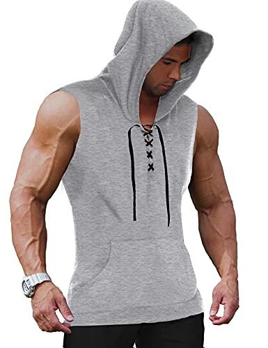 COOFANDY Camiseta sin mangas con capucha para hombre, para entrenamiento muscular., gris claro, L