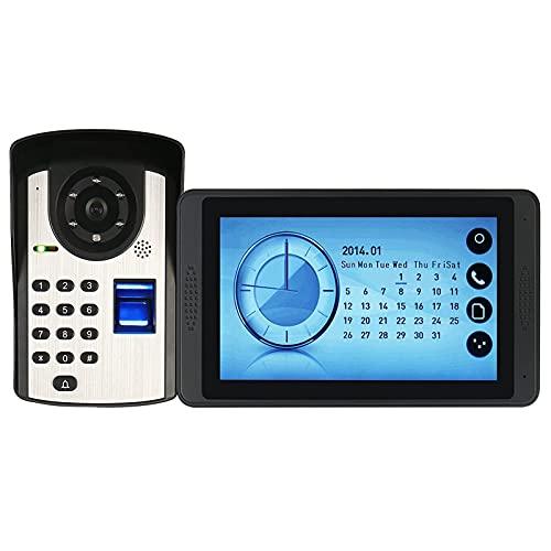 BAOZUPO Timbre de video con contraseña de huellas dactilares, intercomunicador, teléfono con videoportero de 7 pulgadas con cable, monitor de pantalla táctil + cámara de visión nocturna por infrarrojo