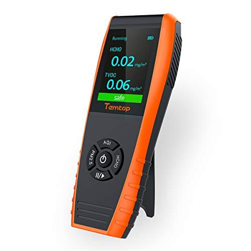 Temtop LKC-1000S + Detector de Alta Precisión de Calidad del Aire,AQI Sensor, para Pruebas PM2.5, PM10, Partículas, HCHO, TVOC, AQI, Temperatura, Humedad 【No para CO2】