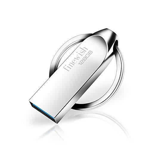Memoria USB 128gb 3.0, Metal Pendrive 128 GB USB 3.0 Flash Drive Impermeable USB Stick 128gb con Llavero para Computadoras, Tabletas Almacenamiento DE Datos Externo (Plata)