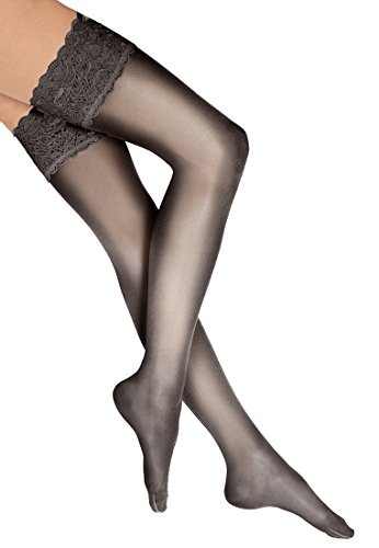 Wolford Damen 21223 Halterlose Struempfe, Frauen Struempfe,Stay-Up,transparent,Spitze.7212 nearly black,Large (L)