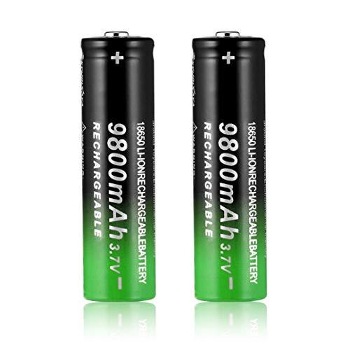 hanfang 3.7V 18650 9800mAh Batería Recargable de Iones de Litio Linterna Antorcha Negro y Verde (Negro y Verde)