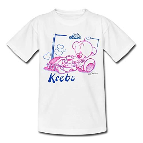 Diddl Sternzeichen Krebs Teddy Pimboli Teenager T-Shirt, 152-164, Weiß