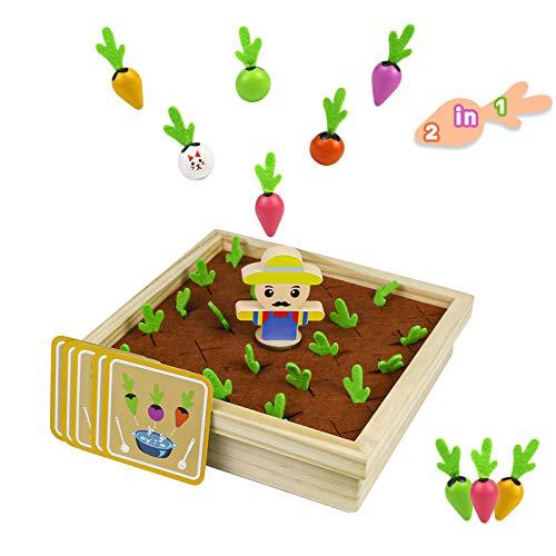 Juegos de Mesa Juguetes de Madera Juego de Memoria Juegos Montessori para Niños 2 in 1 Zanahoria Juguete Mesa Actividades Bebe Juegos de Aprendizaje Regalos de Pascua niños 3 años