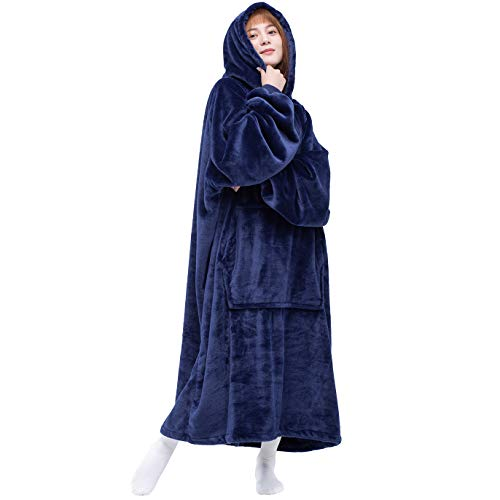 Waitu Wearable Blanket Sweatshirt for Women and Men, Super Warm and Cozy Big Blanket Hoodie, Thick Flannel Blanket with Sleeves and Giant Pocket - Navy