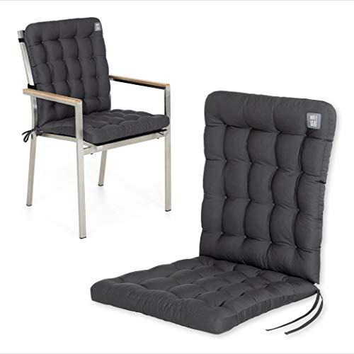 HAVE A SEAT Luxury   Gartenstuhlauflagen - Niedriglehner Polster Auflage, waschbar bei 95°C, Trockner geeignet, Sitzauflage für Gartenstuhl (1 Stück - 100x48 cm, Grau-Anthrazit)