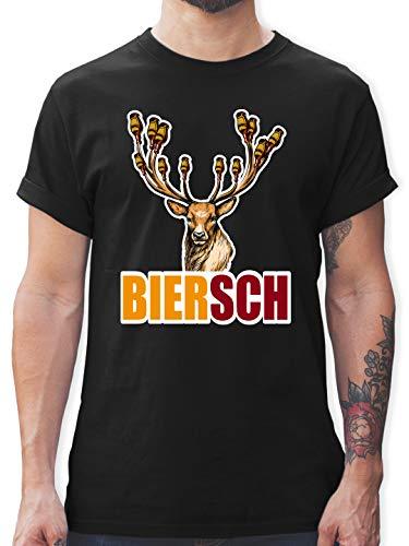 Oktoberfest & Wiesn Herren - Biersch - Bier und Hirsch - XXL - Schwarz - L190 - L190 - Tshirt Herren und Männer T-Shirts