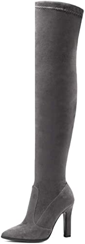 ZHRUI Bottes d'hiver pour Femmes par-Dessus Le Genou (Couleuré   gris foncé, Taille   7 UK)