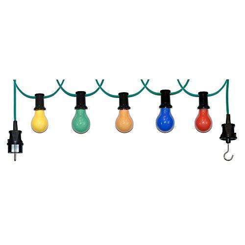 20m Illu Leitung Lichterkette für innen u. außen inkl. 20 Fassungen + Glühbirnen E27 25W bunt gemischt