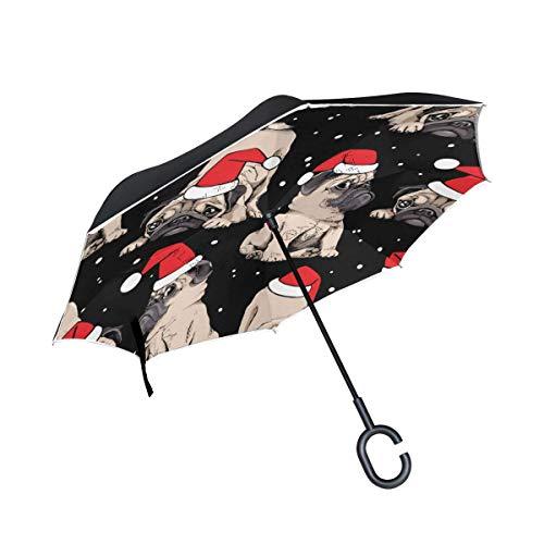 Umbrella Umbrella Reverse Sun Rain hondenspeelgoed voor honden, zwart, winter, Kerstmis, Nieuwjaar, omkeerbaar, voor auto, buiten, met handvat van C