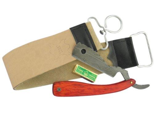 Rasiermesser-Set Damaststahl mit Paste aus Solingen