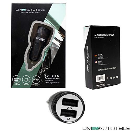 DM Autoteile LED 2100 mA Dual KFZ/Auto Ladegerät für Zigarettenanzünder, leicht entnehmbarer USB Adapter, für PKW und LKW (12V/24V) schwarz