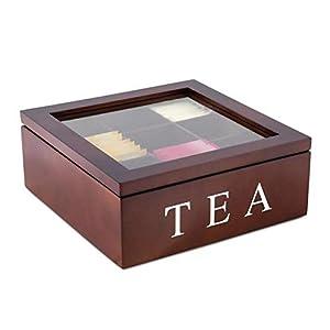 Williamly Boîte à thé en Bois avec 9 Compartiments pour différents sachets de thé et fenêtre Transparente avec Couvercle Aspect Vintage