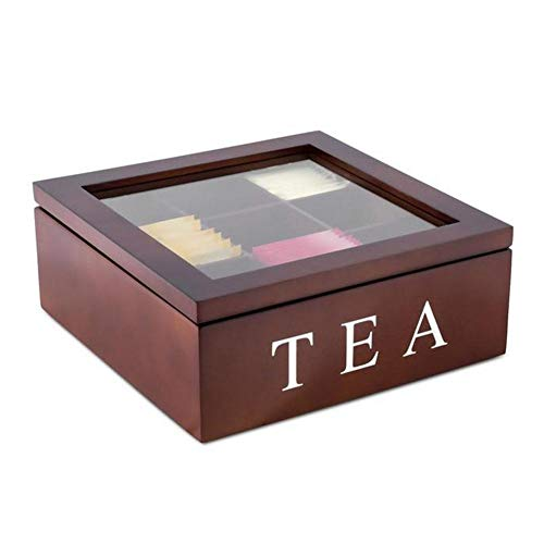 Cheapest Prices! Wood Tea Store Box, 9-Compartment -Tea Coffee Storage Box Size:23 X 23 X 9 Cm