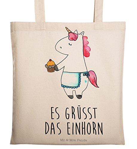 Mr. & Mrs. Panda Baumwolltasche, Einkaufstasche, Tragetasche Einhorn Muffin mit Spruch - Farbe Transparent