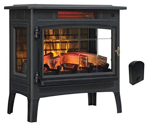Duraflame 3D Infrared Electric Fireplace Stove with Remote Control, Black & Crackler - DFI-5010-01 & CS-FC