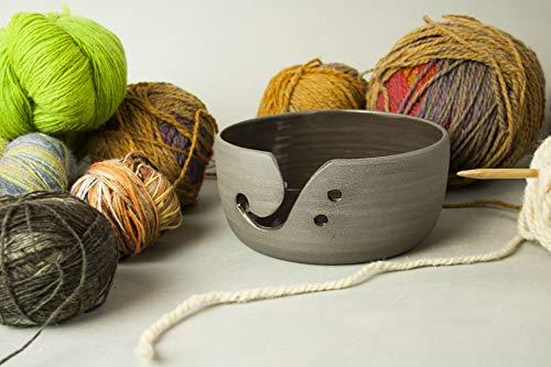 Handgefertigte Knitting BowlKeramik Strickschale zum Stricken und Häkeln- 16cm- Grau