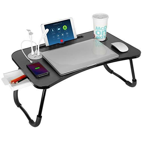 Mesa de cama portátil con USB, VLikeze plegable para cama, bandeja de...