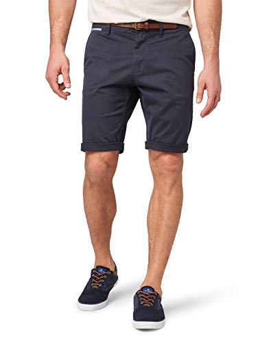 TOM TAILOR Herren Chino Basic Sommer Kurze Hose,Blau (Outer Space Blue 11914),34