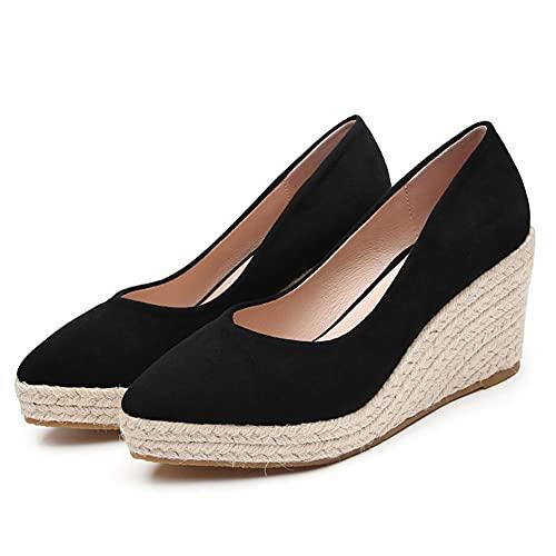 Zapatos Verano Mujer 2021 Cuñas Alpargata Vegana Hecha en Ante Sandalias con Plataforma Mocasines 10CM