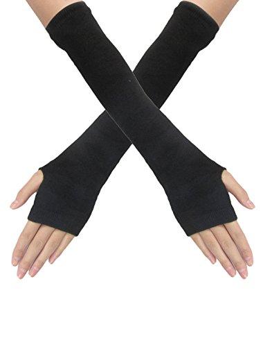 sourcingmap Femme Elastique Noir Tricoté Mitaines Passe Pouce Manche Gants Paire - Femme, Noir, 16-18cm