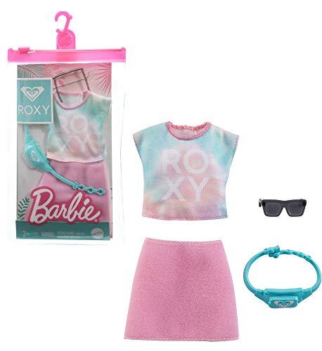 Barbie Roxy GRD42 - Conjunto de ropa (camiseta, falda, riñonera y gafas)