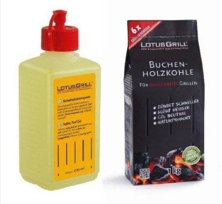 Lotus Grill - Gel Combustibile Inodore per Barbecue + Carbonella Faggio 1KG