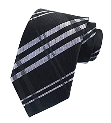 Elfeves Men's Modern Tartan Checks Plaid Style Formal Ties Woven Pattern Necktie