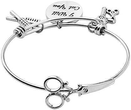 Love Charm Hairdresser Bangle Bracelet Scissor and Blow Dryer Thank You Charm Hair Stylist Gift