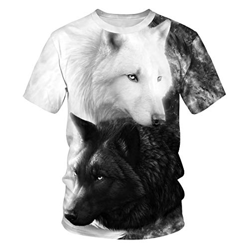 Novelty Shirts 3D Printed Short Sleeve Colorful T-Shirt Fashion Couple Tees Black White Wolf XXXL