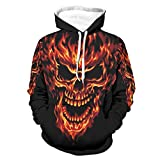 Knowikonwn Unisex fuego Lava Skull Hoodies Solid - Slim Uniform white3 l