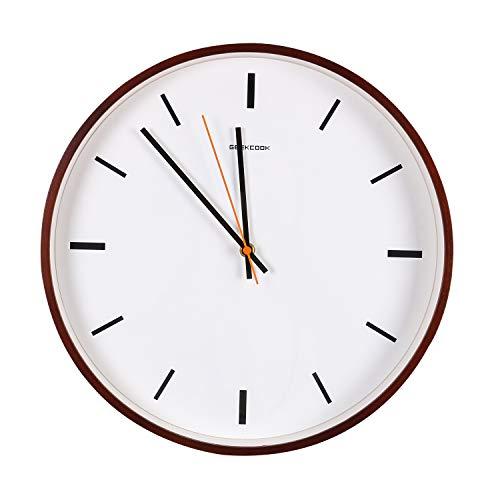 Mengshen Reloj De Pared De Madera, Relojes De Cuarzo Silencioso De 14 Pulgadas para Cocina, Sala De Estar, Baño, Dormitorio Y Oficina (Tipo De Escala)