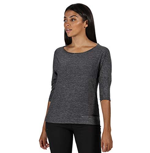 Regatta T- Shirt Technique PULSER léger et Respirant avec Manches Longueur 3/4 Polos/Vests Femme, Black, FR : M (Taille Fabricant : 14)
