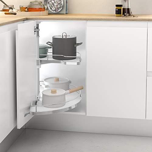 Casaenorden - Kit de 2 bandejas extraíbles y giratorias 180º con Base de melamina para Mueble de Cocina esquinero, 450 mm Ancho Puerta/Alto Producto mm 630-730