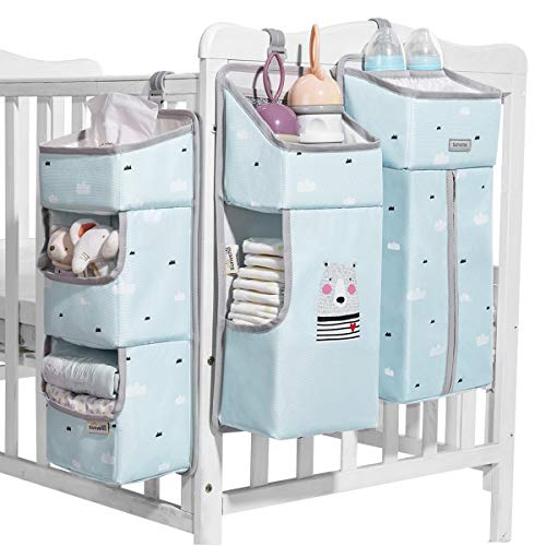 SUNVENO Nursery Organizer Baby Diaper Caddy Set, 3-in-1 Detachable Diaper Organizer Hanging Storage Bags for Crib, Changing Table or Wall, Blue