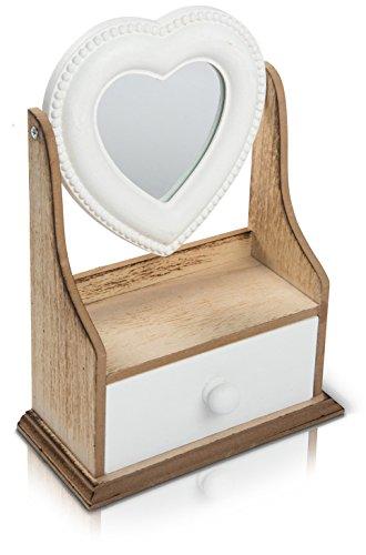 CHICCIE pequeño Corazón licher TS-ideen–Armario–joyero con cajón y Espejo (25cm–para la Mesa o baño