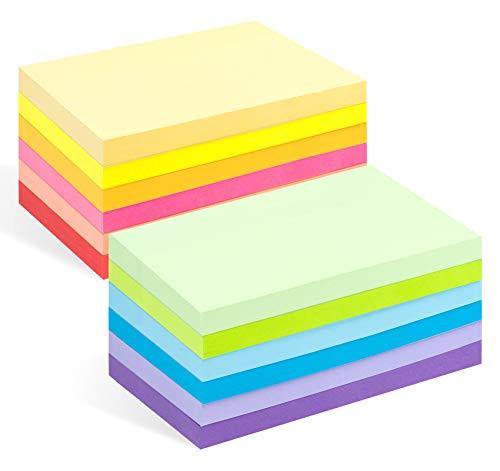 12er Pack Haftnotizen, 12 Notizblöcke à 100 Blatt in 12 Farben, Sticky Notes Bunte Klebezettel und Haftnotizzettel 76 x 127 mm, 12 Blöcke