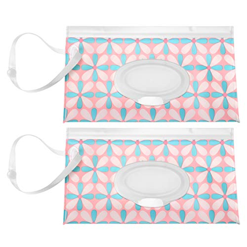 Exceart 2pcs Travel Wipes Case Portable Wet Wipe Pouch Flip Top Wet Tissue Holder Dispenser Reusable for Outdoor Office School Working (Blue Flowers)